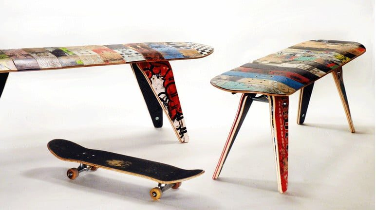 recycled skateboard furniture boethic e
