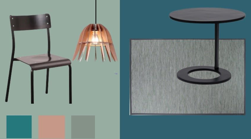 mood board. minimaliste couleurs froides boethic